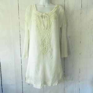 Joie Dress Embroidered Boho Peasant Bell Sleeve